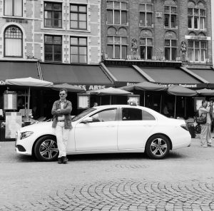 A cab driver waiting