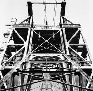 View of the lift leading to the top of the blast furnace